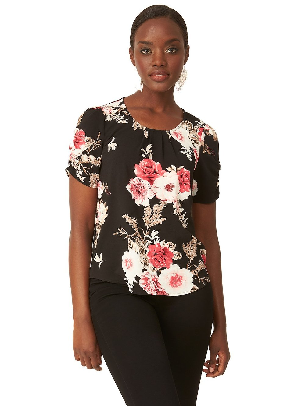 Pleated Floral Blouse
