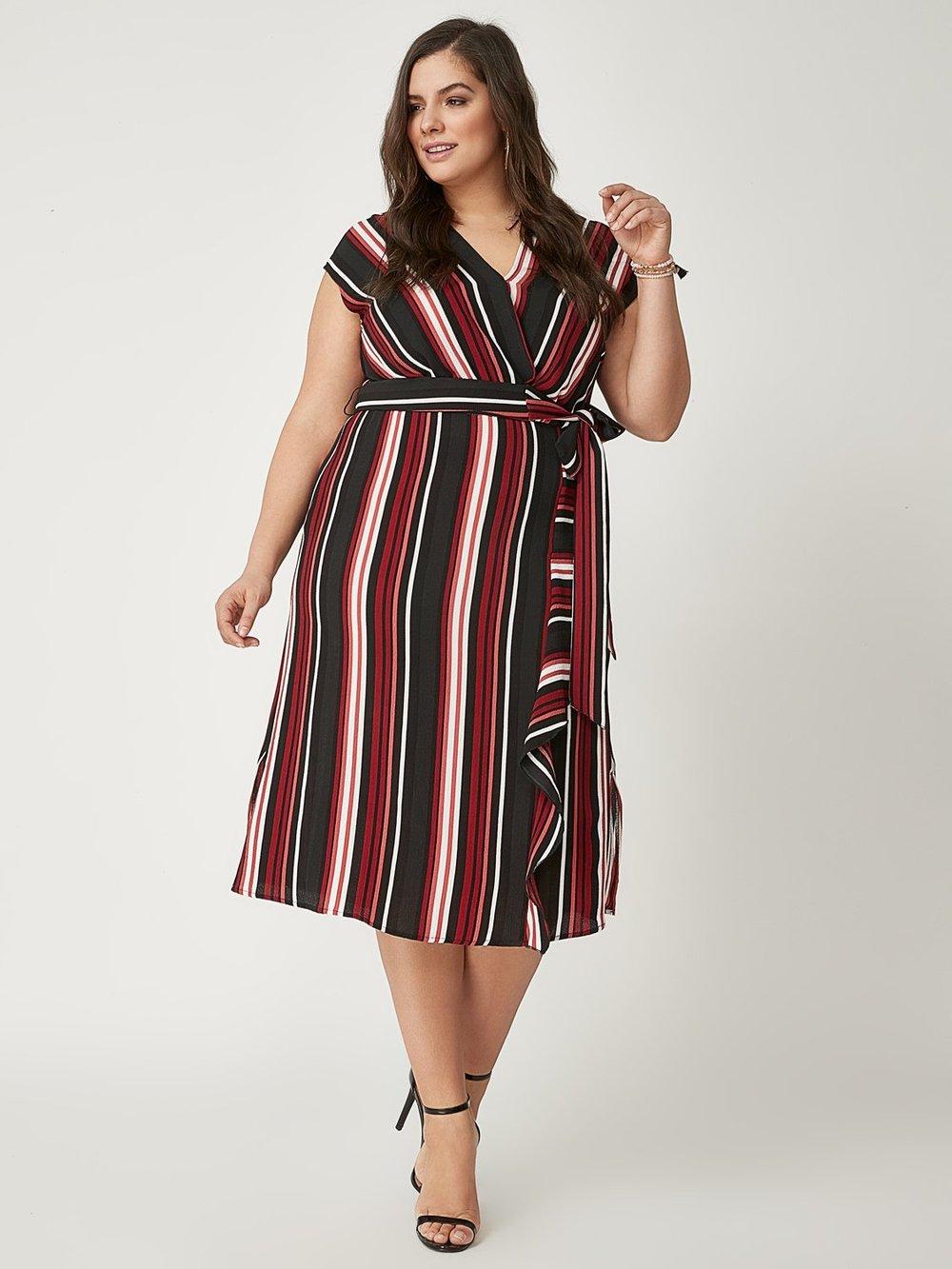 Plus Size Striped Ruffle Dress