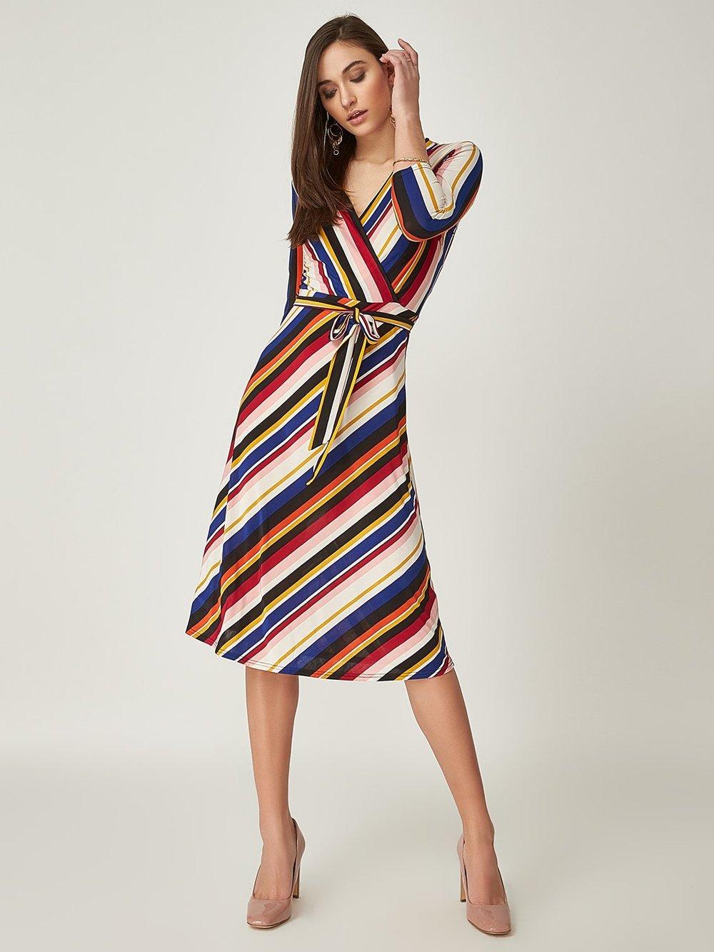 Striped Crossover Midi Dress