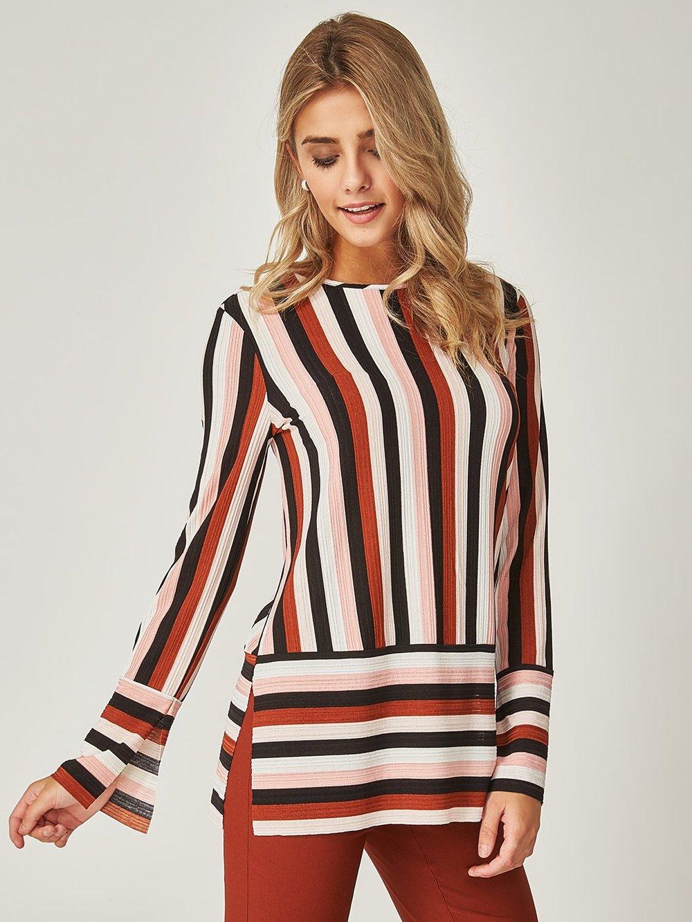 Semi-Sheer Striped Blouse