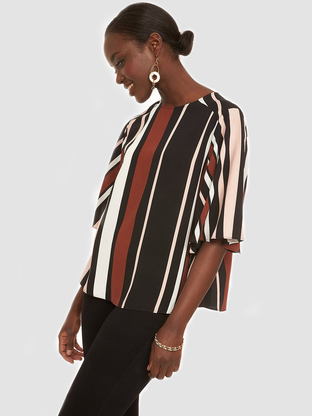 Printed Elbow Length Sleeve Blouse