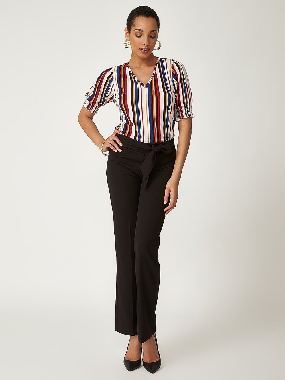Striped Poof Sleeve Top