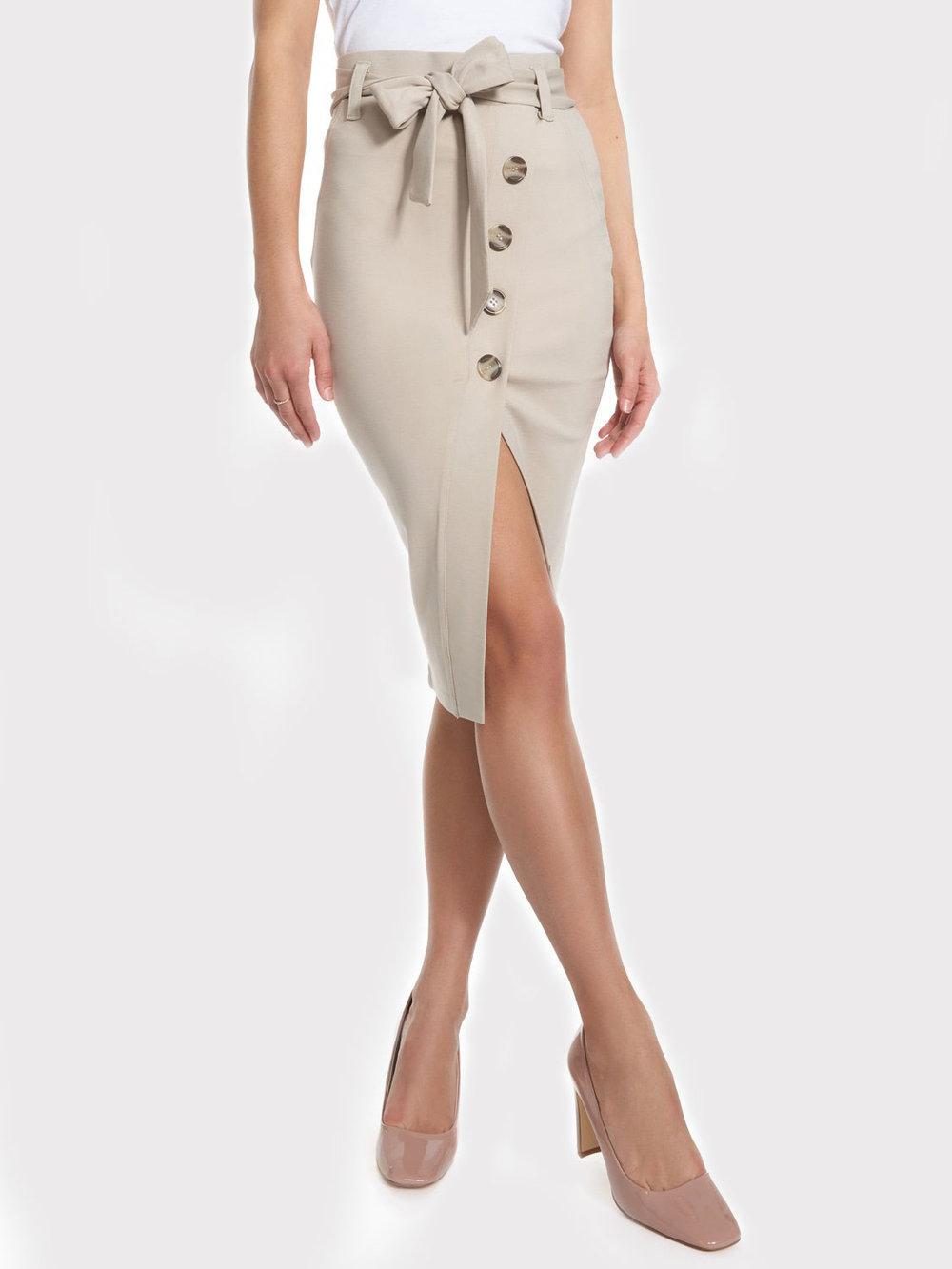 Faux Wrap Button Skirt