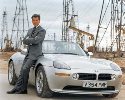 Pierce Brosnan next to his BMW in the Baku Oil Fields (stolen from wikipedia.org)