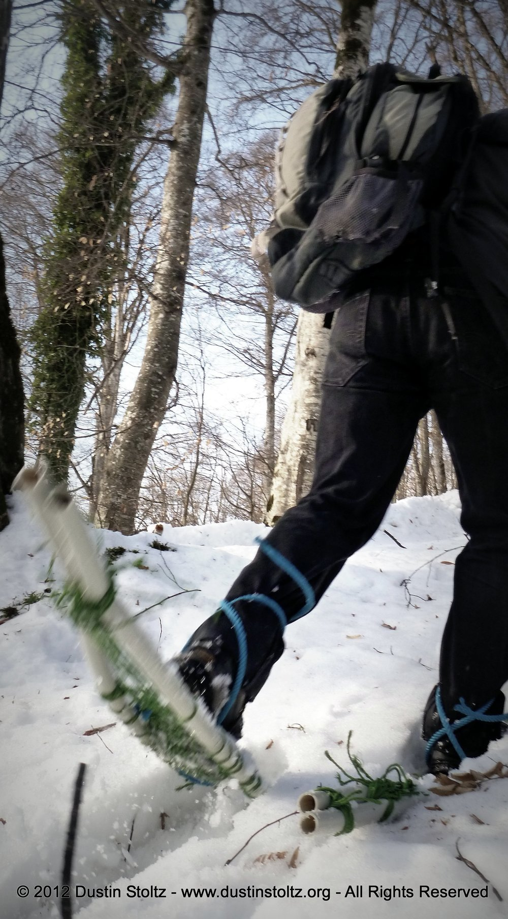 Trying out our homemade snowshoes. Zaqatala Rayon, Azerbaijan