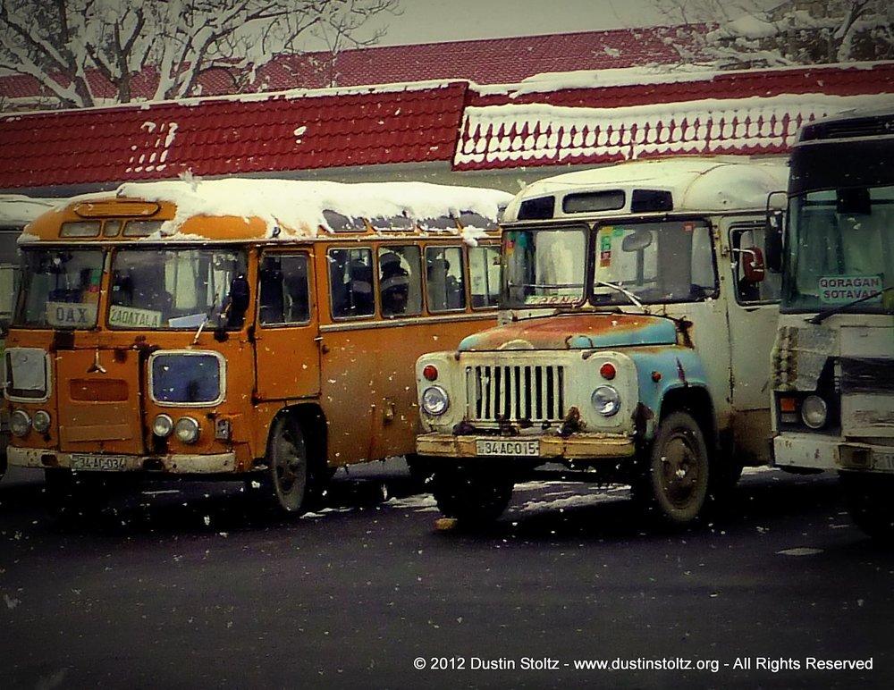 Buses in Gakh, Azerbaijan