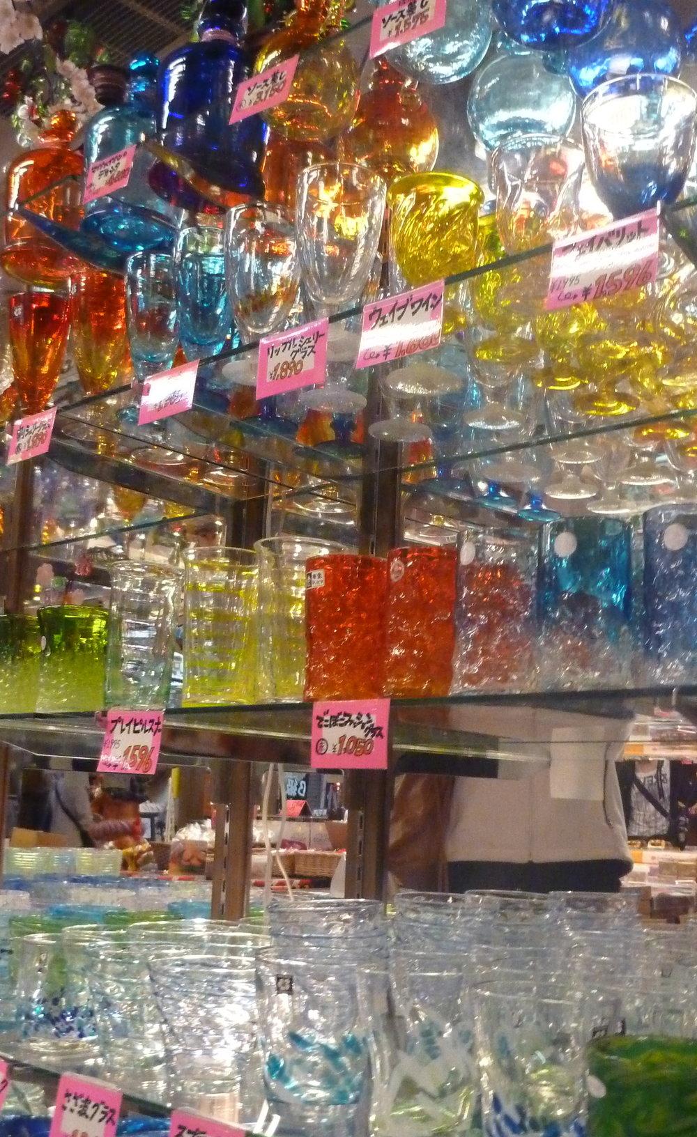 Display case with Ryukyuan Glassware. Okinawa, Japan