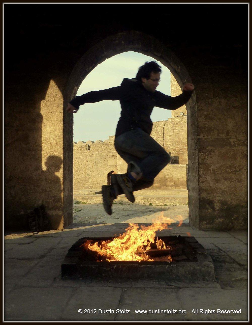 Jumping the Ateshgah fire. Surakhani, Azerbaijan