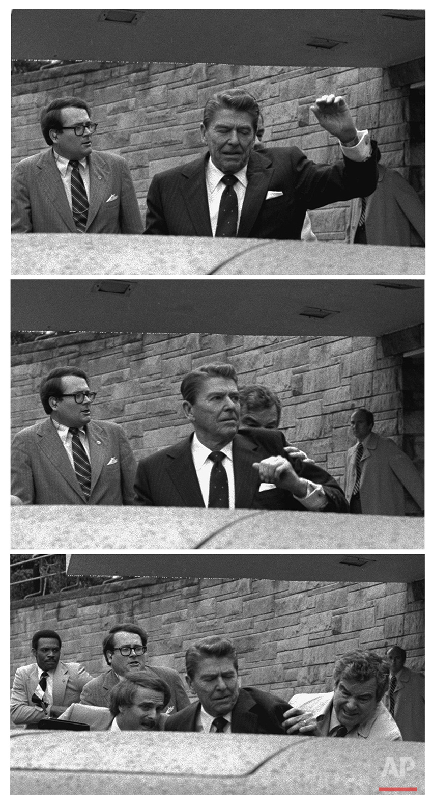 In this March 30, 1981 black-and-white three picture combo file photo, President Reagan waves, then looks up before being shoved into Presidential limousine by Secret Service agents after being shot outside a hotel in Washington. John Hinckley Jr. shot four people outside a Washington hotel on March 30, 1981, but two of his victims understandably got most of the attention: President Ronald Reagan and his press secretary, James Brady. Former Secret Service agent Timothy McCarthy and former District of Columbia police officer Thomas Delahanty, both of whom took bullets to protect the president. (AP Photo/Ron Edmonds)