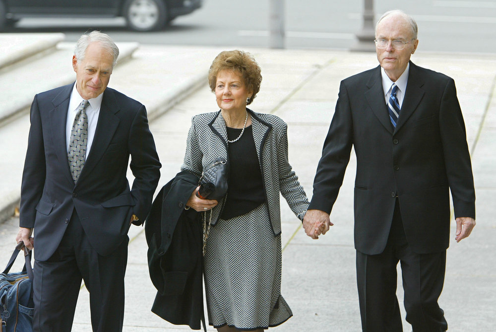 Accompanied by attorney Barry Levine, left, Jack and Jo Ann Hinckley, parents of the man who shot President Reagan, John Hinckley Jr., arrive at the U.S. District Courthouse in Washington, Monday, Nov. 17, 2003. Hinckley, 48, who shot Reagan 22 years ago, says his mental condition has improved and is trying to get permission to leave St. Elizabeths Hospital in Washington and travel three hours away to the Williamsburg, Va., area to visit his parents.  (AP Photo/J. ScottApplewhite)