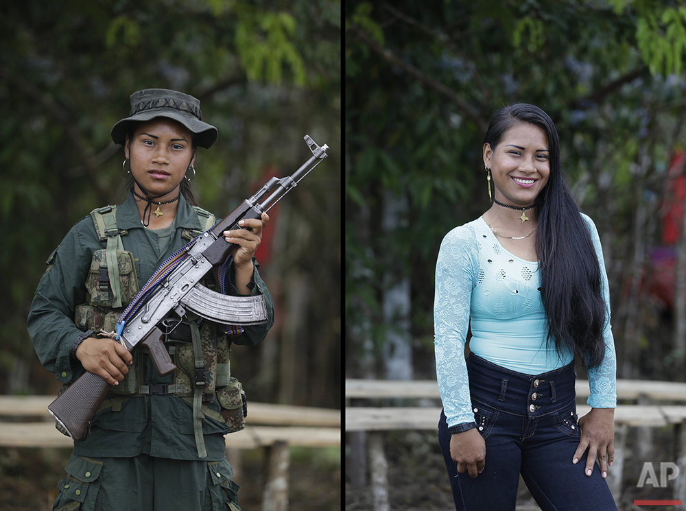 This Aug. 15, 2016 photo shows two portraits Carolina, one of her holding a weapon while in her uniform for the Revolutionary Armed Forces of Colombia (FARC) 49th front, and in civilian clothing at a guerrilla camp in the southern jungle of Putumayo, Colombia. Carolina, 18, said she has spent three years in the FARC and would like to study engineering after demobilizing as part of a peace deal with Colombia's government. An Oct. 2 national referendum will give voters the chance to approve the deal for ending a half-century of political violence that has claimed hundreds of thousands of lives and driven millions from their homes. (AP Photo/Fernando Vergara)