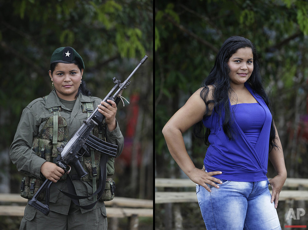 Derly, a rebel of 49th front of the Revolutionary Armed Forces of Colombia, FARC, poses at a camp in the southern jungles of Putumayo, Colombia, Monday, Aug. 15, 2016. Derly said she is 24 and has been nine years in the FARC, and after the peace agreement with the government of Colombia she would like to study medicine. (AP Photo/Fernando Vergara)