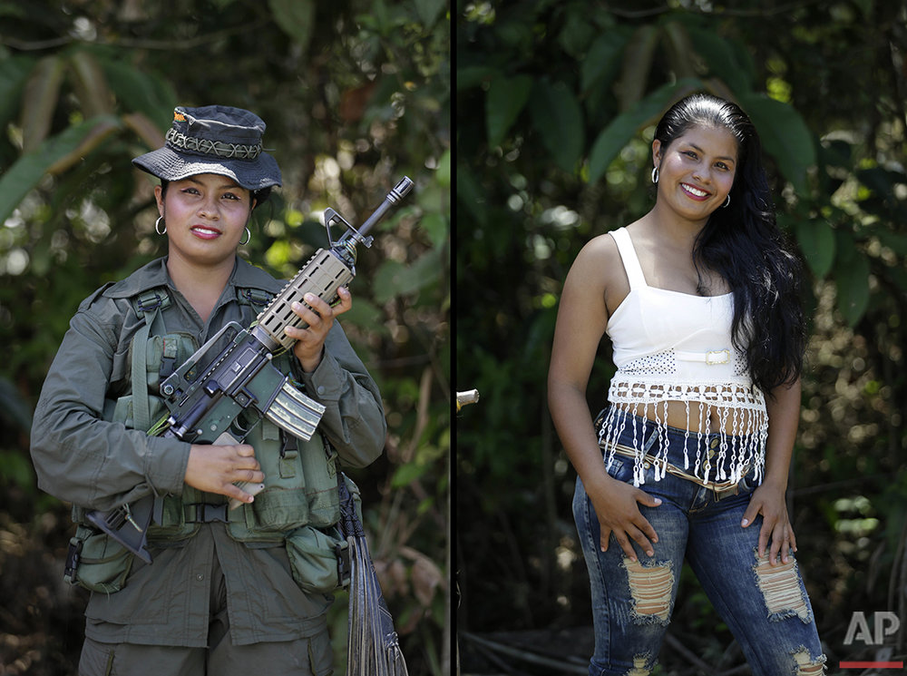 Johana, a rebel of 32nd front of the Revolutionary Armed Forces of Colombia, FARC, poses for a photo at her camp in the southern jungles of Putumayo, Colombia, Tuesday, Aug. 16, 2016. Johana said she is 19, that has spent six years in the FARC and would like to study nursing after demobilizing as part of a peace deal with the Colombia's government is signed. (AP Photo/Fernando Vergara)