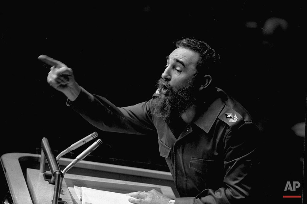 In this Oct. 12, 1979 file photo, Cuban President, Fidel Castro, points during his lengthy speech before the United Nations General Assembly, in New York. The man who nationalized the Cuban economy and controlled of virtually every aspect of life on the island celebrates his 90th birthday on Saturday, Aug. 13, 2016, in a far different country than the one he ruled for decades. (AP Photo/Marty Lederhandler)