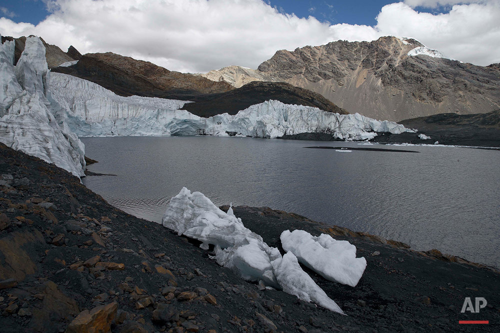 In this Aug. 12, 2016 photo, the retreating ice of the Pastoruri glacier is seen in the Huascaran National Park in Huaraz, Peru. (AP Photo/Martin Mejia)