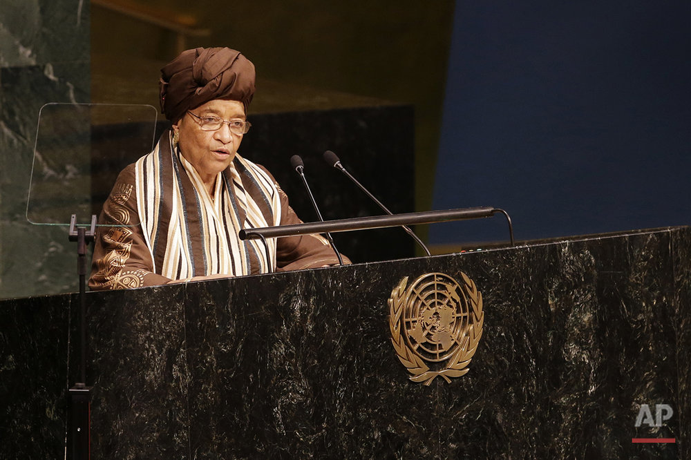 President of Liberia Ellen Johnson Sirleaf addresses the Sustainable Development Summit, Friday, Sept. 25, 2015, at United Nations headquarters. (AP Photo/Mary Altaffer)