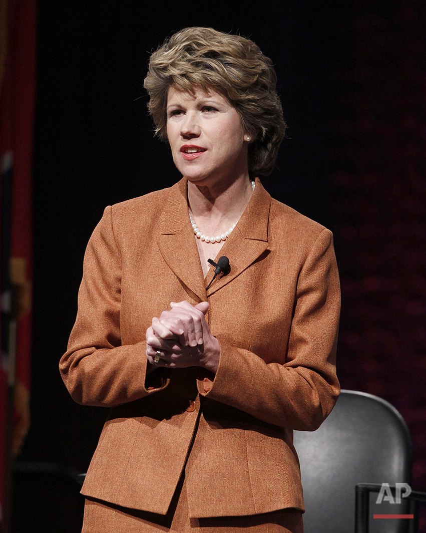 Former Rep. Kim McMillan , D-Clarksville, takes part in a gubernatorial forum on Jan. 14, 2010 in Nashville, Tenn. McMillan said Wednesday, March 31, that she is dropping out of the governor's race to run for Clarksville mayor. (AP Photo/Mark Humphrey)