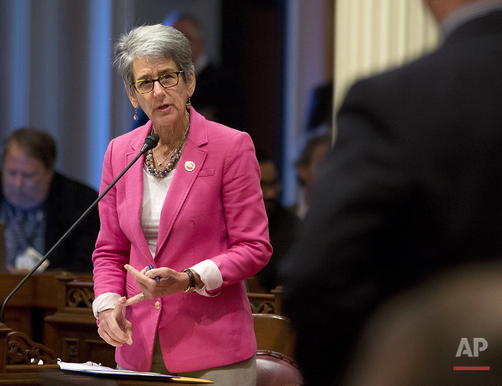 State Sen. Hannah-Beth Jackson, D-Santa Barbara, responds to a question from Sen. Anthony Cannella R-Ceres, at the Capitol in Sacramento, Calif., on Thursday, June 30, 2016. She is chairwoman of the powerful judiciary committee as well as the California Legislative Women's Caucus. Jackson's legislative accomplishments include what was considered the strongest equal pay legislation in the country. (AP Photo/Rich Pedroncelli)