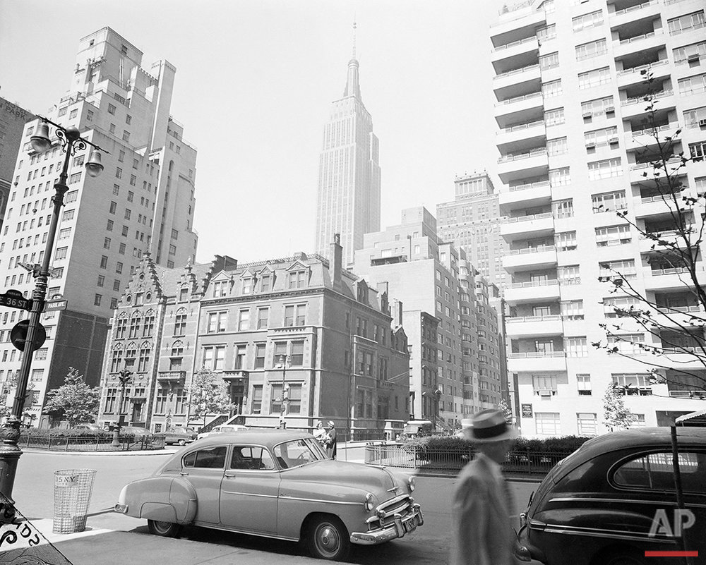 The Empire State Building is seen from from the corner of Park Avenue and 36th Street in New York, May 31, 1951. (AP Photo/Bob Wands)