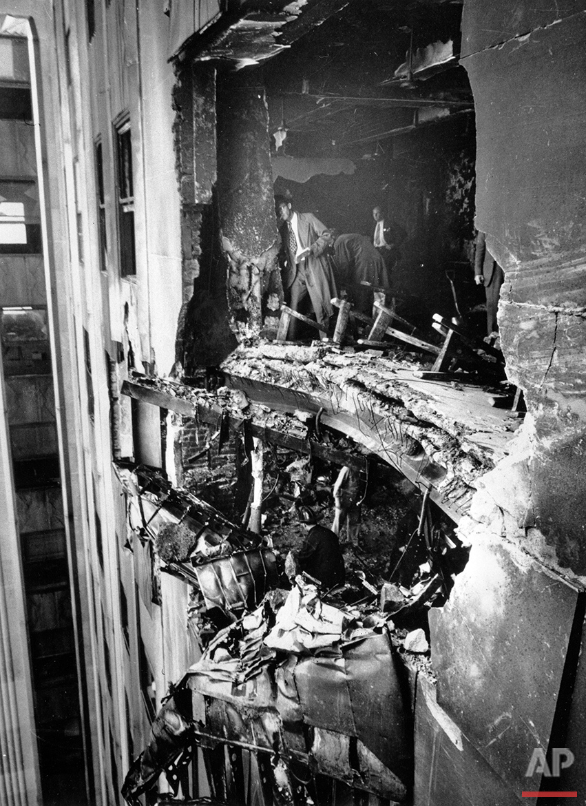 This hole in the Empire State building between the 78th and 79th floor is where an Army B-25 bomber crashed into the north wall on July 28, 1945 in New York.  (AP Photo)