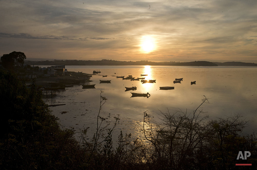 In this May 7, 2016 photo, early morning sun rays glitter on the water where boats are anchored in the fishing village Quetalmahue, Chiloe Island, Chile. (AP Photo/Esteban Felix)