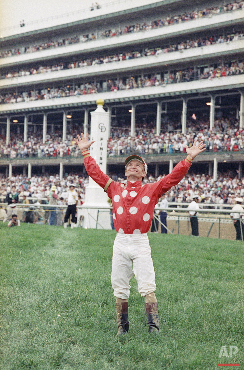 Pat Day reacts after winning his first Kentucky Derby on Lil E. Tee Saturday, May 2, 1992 at Churchill Downs in Louisville, Ky. (AP Photo/Ed Reinke)