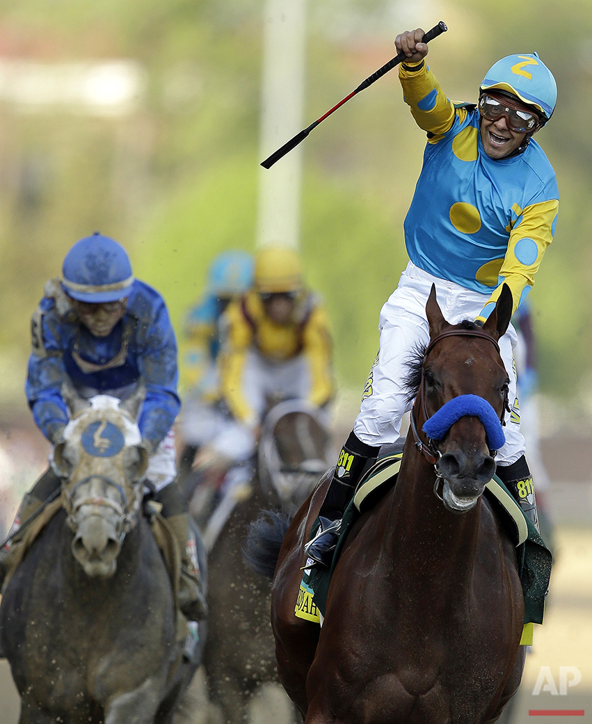 In this Saturday, May 2, 2015, photo, jockey Victor Espinoza celebrate atop American Pharoah after they won the Kentucky Derby horse race at Churchill Downs in Louisville, Ky. (AP Photo/Darron Cummings)