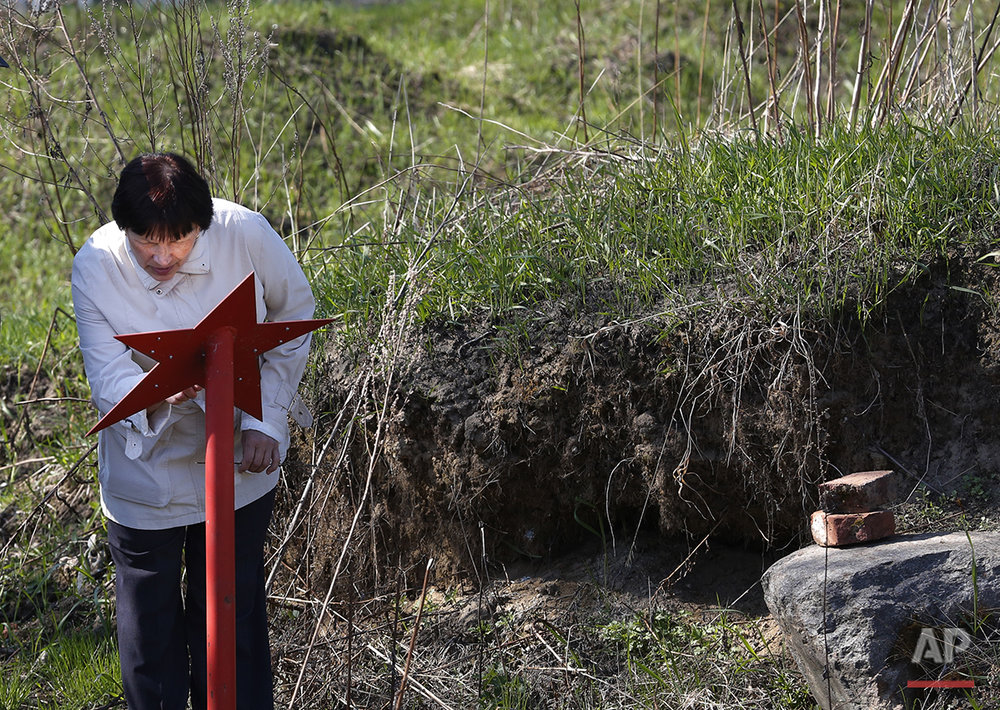 In this photo taken on Monday, May  2, 2016, a woman reads the names of Soviet soldiers whose remains were uncovered at the place and then reburied, at Nevsky Pyatachok near Kirovsk,  Russia. Nevsky Pyatachok, an area about 50 kilometers (30 miles) southeast of St. Petersburg, has proved especially fertile ground. As many as 200,000 Soviet soldiers were killed here between September 1941 and May 1943 in fighting to break the Nazi siege of the city, which was then called Leningrad.  (AP Photo/Dmitri Lovetsky)
