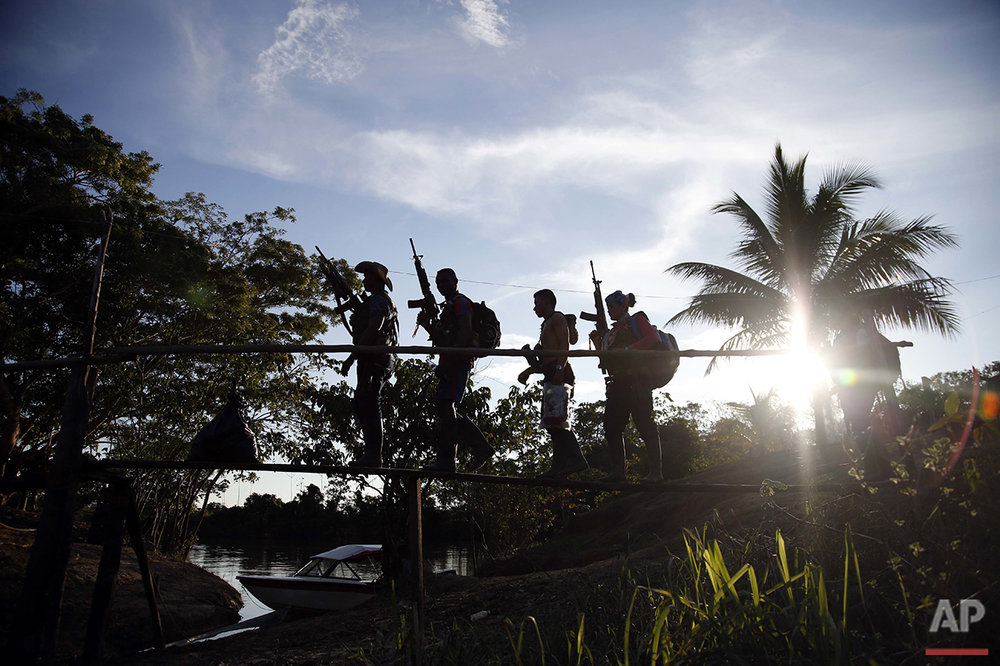 In this Aug. 11, 2016 photo, rebels of the 48th Front of the Revolutionary Armed Forces of Colombia walk on a makeshift footbridge in the southern jungles of Putumayo, Colombia. With the peace accords about to be signed between the FARC and the government, gone are the days when they had to change camp every few days for fear of being stunned in their sleep by bombs falling from the skies. (AP Photo/Fernando Vergara)