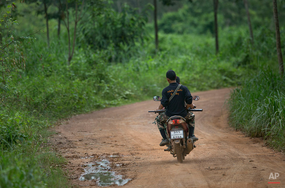 In this Thursday, Aug 18, 2016 photo park rangers tracking a herd of wild elephants travel in a motorbike in Pana, southeastern province of Chanthaburi, Thailand. The increase in human population has led to excessive use of forest for agriculture. This has forced estimated 3,000 wild elephants in Thailand to venture out of their shrinking habitat in search of food, according to the Thai Elephant Conservation Center in Thailand.(AP Photo/Gemunu Amarasinghe)