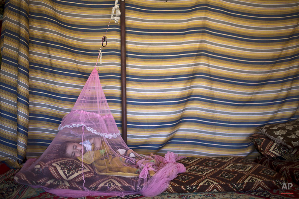 Seven-month-old  Syrian refugee Mariam Mohammed, whose family fled from Hama, Syria, sleeps under a mosquito net inside their tent at an informal tented settlement in the Jordan Valley, Jordan, Wednesday, March 30, 2016. (AP Photo/Muhammed Muheisen)