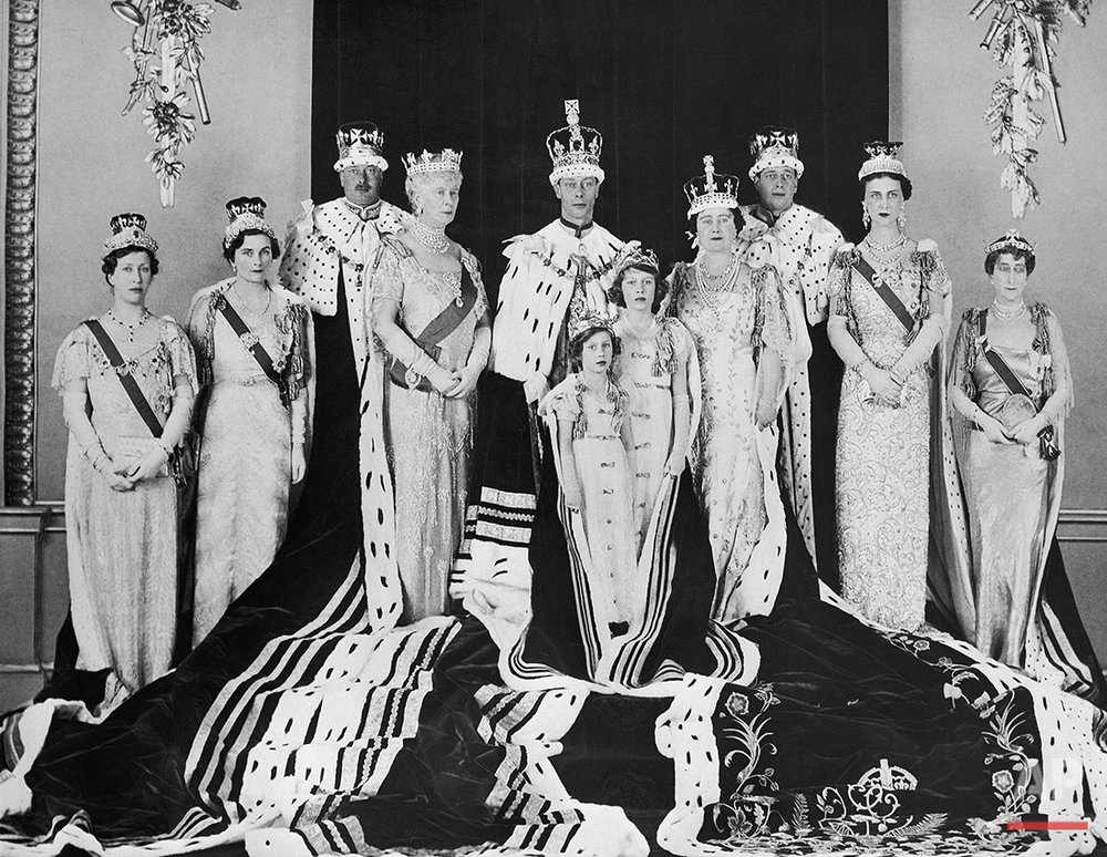 Members of the British Royal Family in this radiophoto on May 15, 1937 in London.    From left to right: the princess Royal, the Duchess and Duke of Gloucester, Queen Mary, King George VI, Queen Elizabeth, the Duke and Duchess of Kent, and Princess Maud of Norway, the third daughter of King Edward VII of Great Britain. In the front are the Princess Margaret Rose and Elizabeth, Daughters of the King and Queen. (AP Photo)