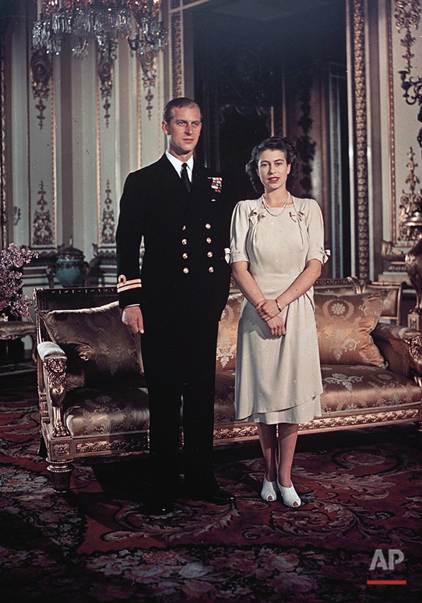 Princess Elizabeth and Lt. Philip Mountbatten are seen, Sept. 1947. They will be married in November.  (AP Photo)