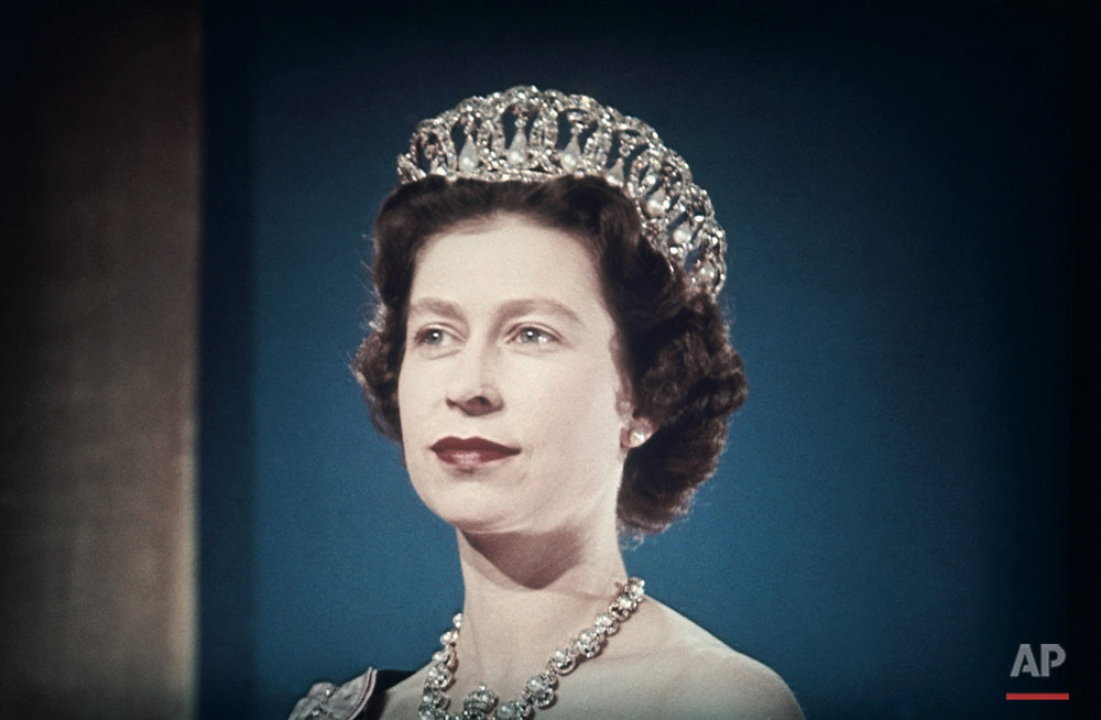 This is a 1960 photo showing Queen Elizabeth II wearing a tiara. (AP Photo)