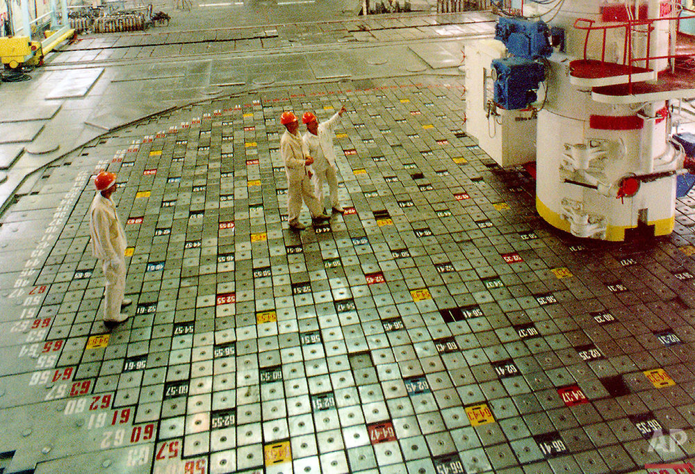 In this Dec. 3, 1999 photo, engineer operators of Ukraine's Chernobyl nuclear power plant, the site of the 1986 world's worst nuclear accident, carry out their routine work inside the only operating third reactor, Ukraine. Shortly before Chernobyl's last operating reactor was closed in 2000. (AP Photo/Efrem Lukatsky)