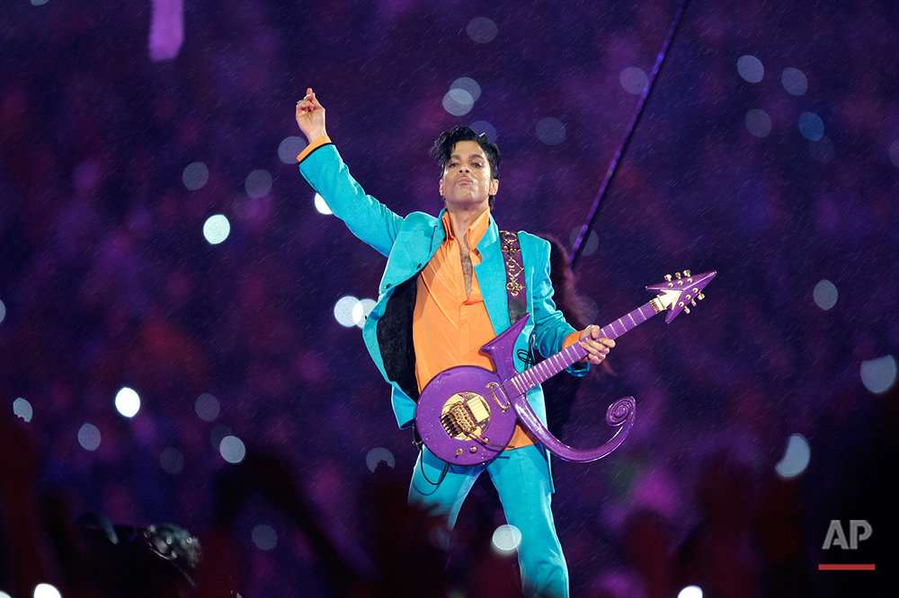 Prince performs during the halftime show at the Super Bowl XLI football game at Dolphin Stadium in Miami on Sunday, Feb. 4, 2007. (AP Photo/Chris O'Meara)