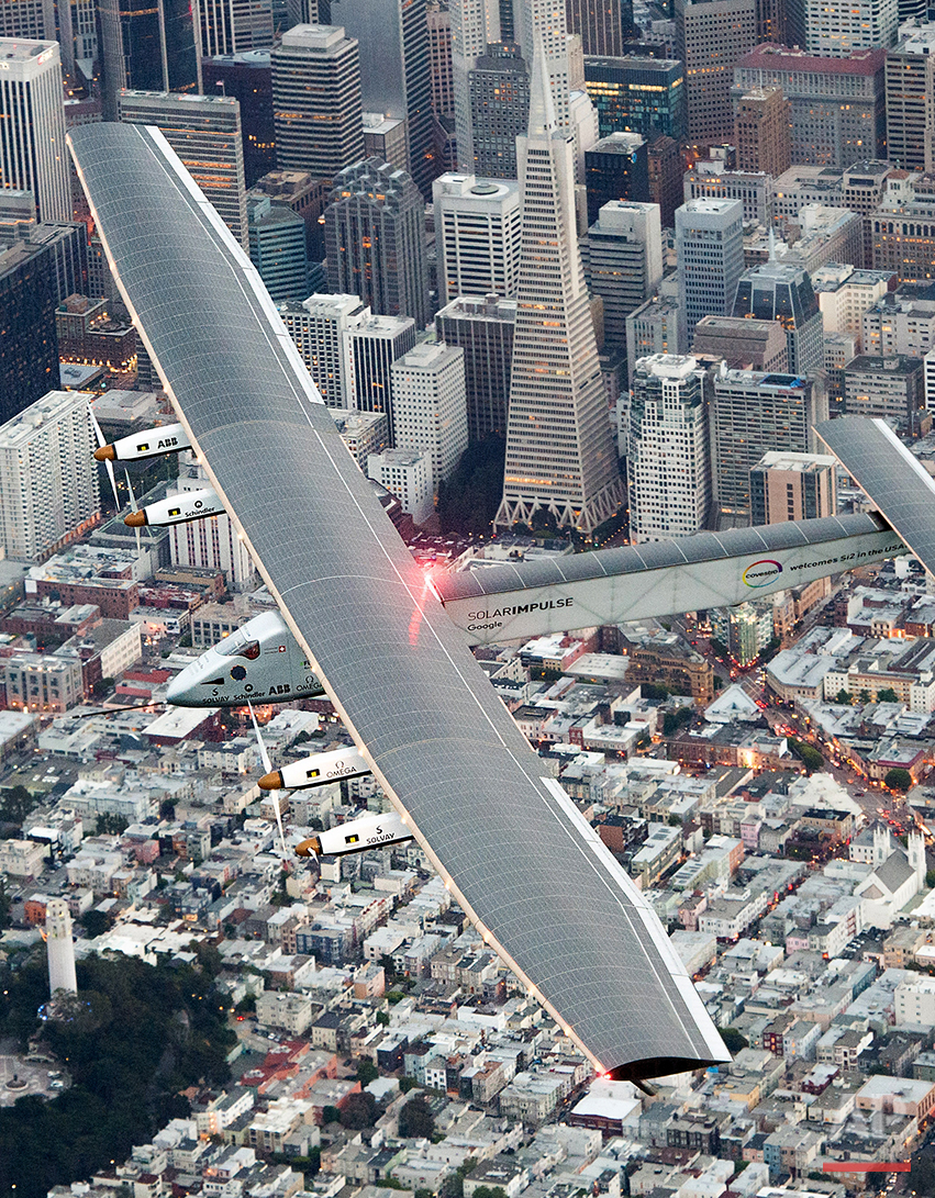 Solar Impulse 2 flies over San Francisco before landing at Moffett Field on Saturday, April 23, 2016. The solar-powered airplane, which is attempting to circumnavigate the globe to promote clean energy and the spirit of innovation, arrived from Hawaii after a three-day journey across the Pacific Ocean. (AP Photo/Noah Berger)