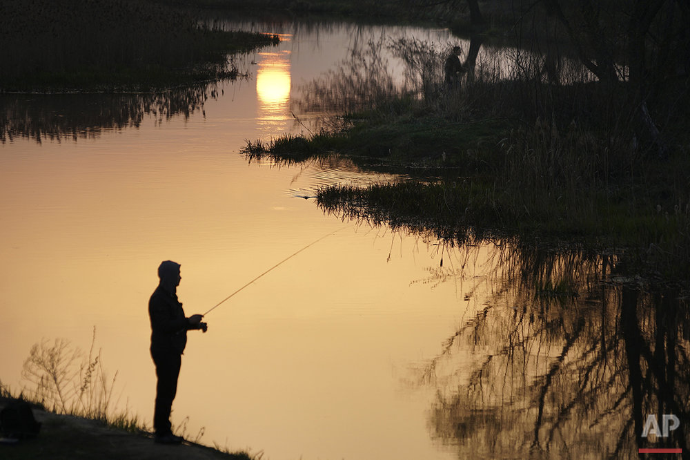 In this photo taken on Thursday, April  7, 2016, a man fishes in a river near Ivankiv, Ukraine. (AP Photo/Mstyslav Chernov)