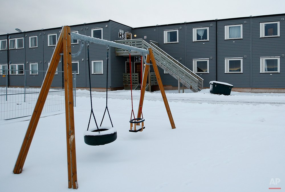 In this photo taken Thursday, Feb. 4, 2016, a view of the children's play area of the refugee camp is shown in Hammerfest, northern Norway. Waiting for their asylum claims to be processed, hundreds of people in emergency shelters in Hammerfest and neighboring towns are slowly getting used to the extreme climate and unfamiliar customs of the High North. They say they have adapted to the cold _ the temperature rarely drops below minus 10 degrees C (14 F) along the coast, though it gets much colder further inland. It's the darkness that throws them off. (AP Photo/Alastair Grant)