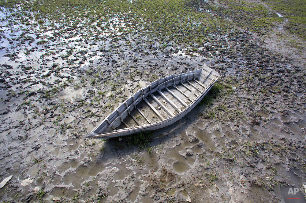 In this Feb. 20, 2016 photo, a boat sits near Lake Azuei in Thomazeau, Haiti. ( AP Photo/Dieu Nalio Chery)