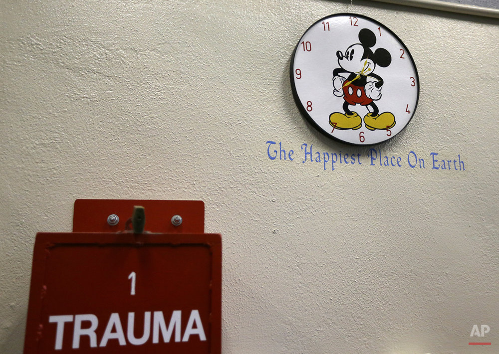 In this photo taken on Tuesday, Dec. 28, 2015, a Mickey Mouse clock is seen on a wall on death row at San Quentin State Prison in San Quentin, Calif. With California's lethal injection protocol in limbo, the nearly 750 inmates at San Quentin State Prison, the nation's most populous death row, are more likely to die from natural causes or suicide than execution. The inmates await a final decision on a proposed one-drug execution method to replace a three-drug method that a federal judge invalidated in 2006 as a potentially cruel and unusual punishment. (AP Photo/Ben Margot)