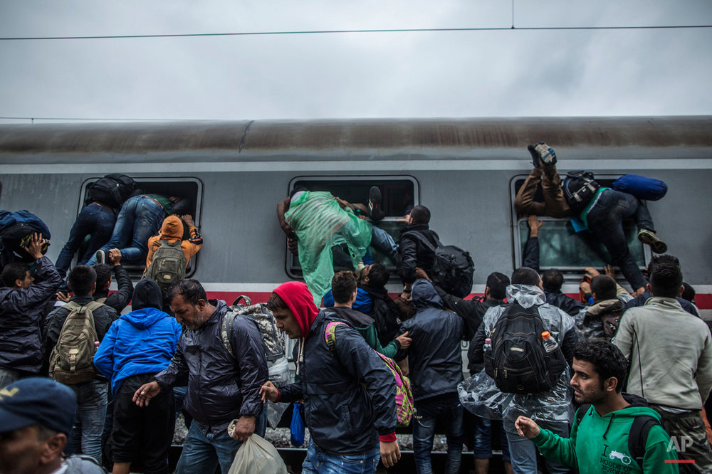 Migrants and refugees board a train by climbing through the windows as they try to avoid a police barrier at the station in Tovarnik, Croatia, Sunday, Sept. 20, 2015.  (AP Photo/Manu Brabo)