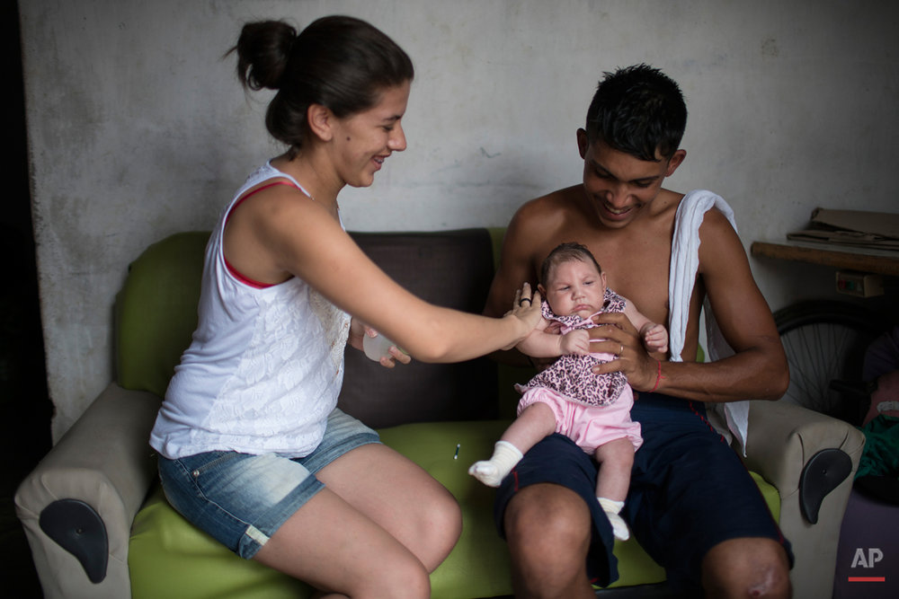 "In this Dec. 22, 2015 photo, Angelica Pereira applies perfume on Luiza as her father Dejailson Arruda holds her at their house in Santa Cruz do Capibaribe, Pernambuco state, Brazil. While thereís never before been a detected link between the virus and microcephaly, ""there has never been an epidemic of Zika in the proportions that we are looking at now in Brazil,"" said Pedro Fernando Vasconcelos, a researcher at Evandro Chagas Institute investigating an association between the virus and the birth defects. (AP Photo/Felipe Dana)"
