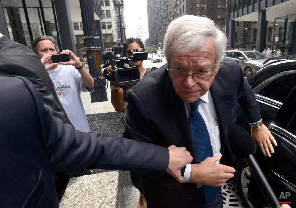 Former House Speaker Dennis Hastert arrives at the federal courthouse, Tuesday, June 9, 2015, in Chicago for his arraignment on federal charges that he broke federal banking laws and lied about the money when questioned by the FBI. The indictment two weeks ago alleged Hastert agreed to pay $3.5 million to someone from his days as a high school teacher not to reveal a secret about past misconduct. (AP Photo/Paul Beaty)