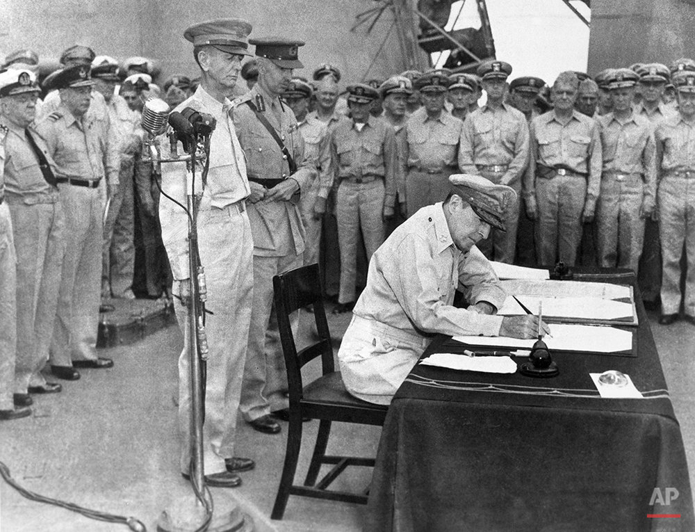 Image result for japan signs surrender, officially ending ww2