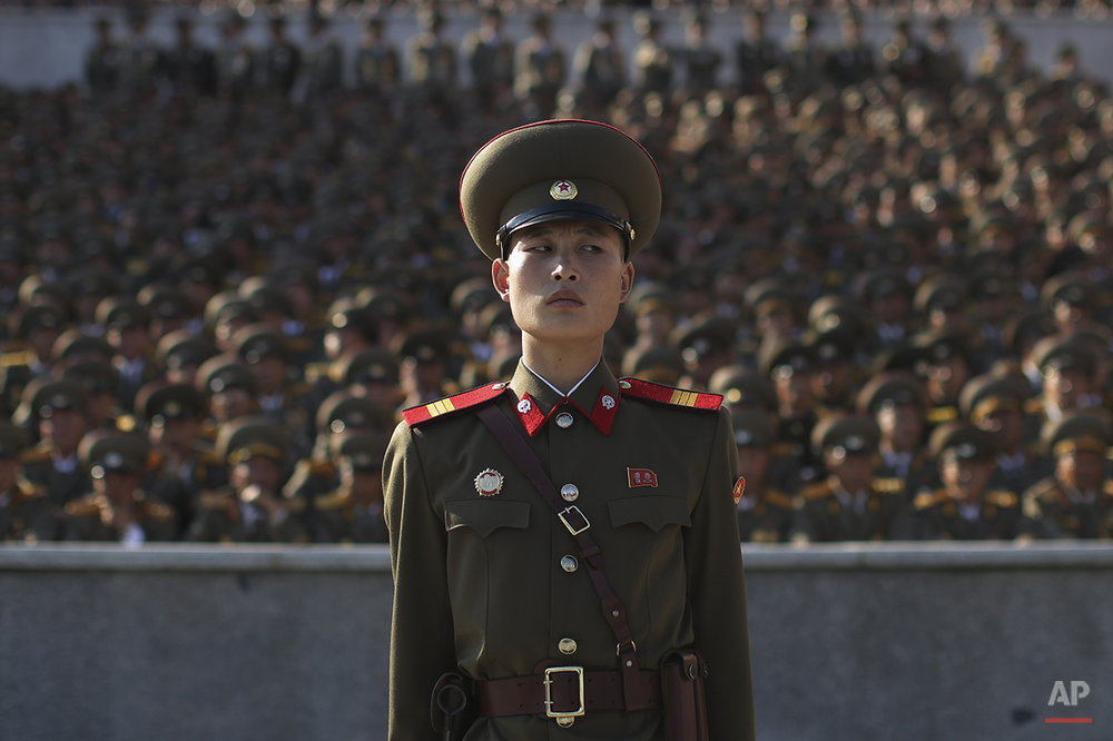 In this Oct. 10, 2015 photo, a soldier stands at a parade in Pyongyang, North Korea, Saturday. North Korean leader Kim Jong Un declared Saturday that his country was ready to stand up to any threat posed by the United States as he spoke at a lavish military parade to mark the 70th anniversary of the North's ruling party and trumpet his third-generation leadership. (AP Photo/Wong Maye-E, File)