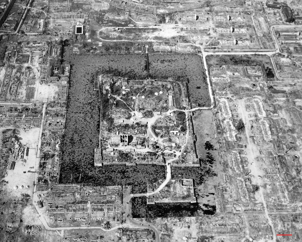 Here is a view of the total destruction of Hiroshima, the result of the first atomic bomb dropped in wartime, August 6, 1945.  (AP Photo/U.S. Air Force)