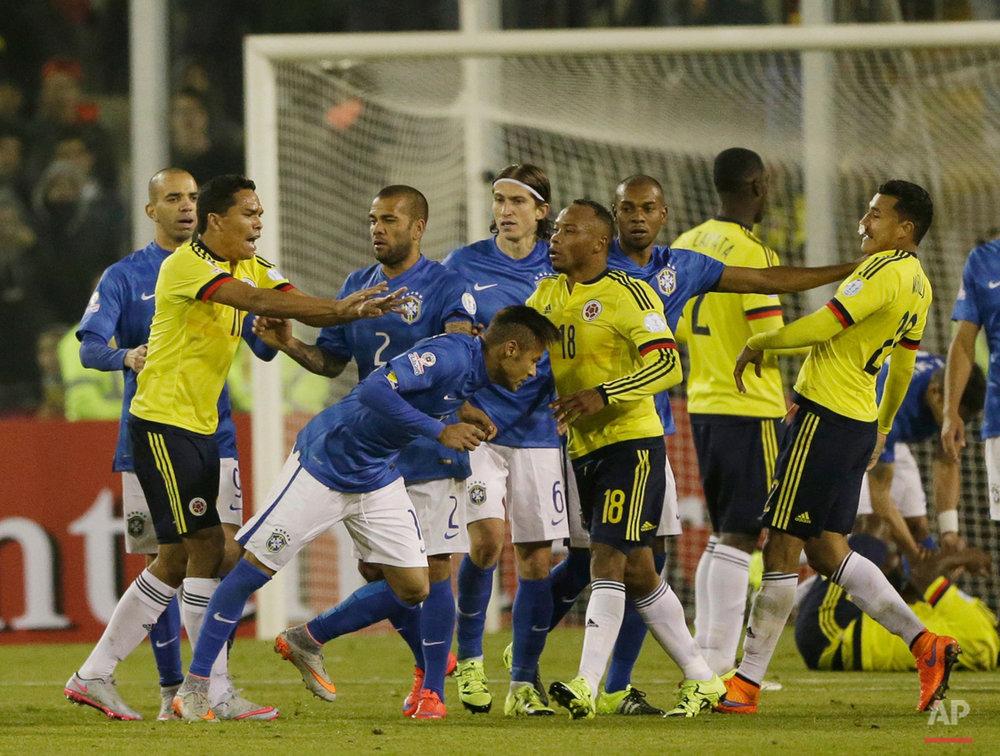 APTOPIX Chile Soccer Copa America Brazil Colombia