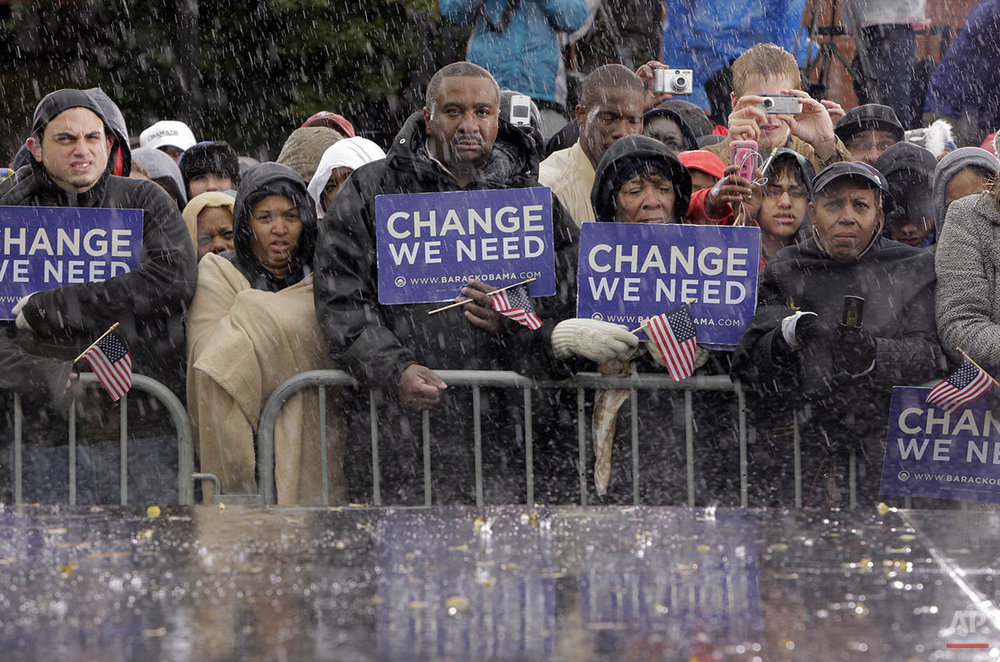Supporters listen to Democratic presidential candidate Sen. Barack Obama, D-Ill. at a rally in Chester, Pa., Tuesday, Oct. 28, 2008. (AP Photo/Jae C. Hong)