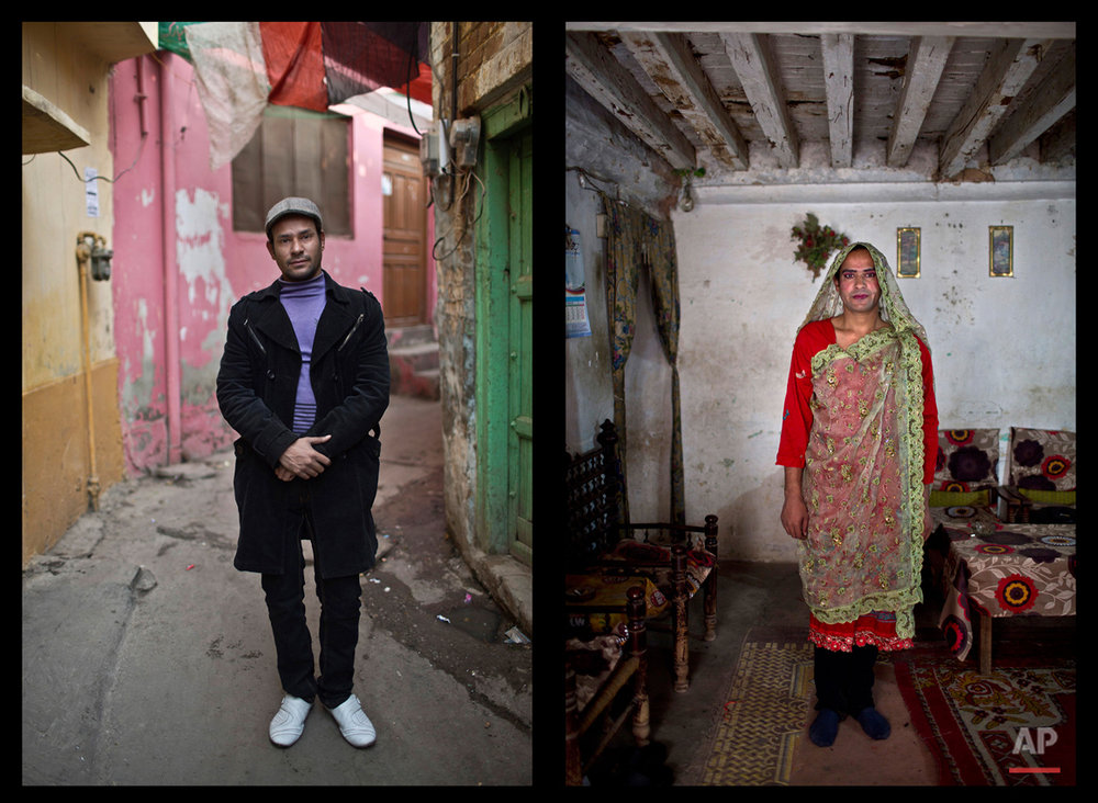 This combination of two images taken on Monday, Jan. 12, 2015, shows Pakistani Tahir Abbas, 26, posing for a picture in Rawalpindi, Pakistan. Across conservative Pakistan, where Islamic extremists launch near-daily attacks and many follow a strict interpretation of their Muslim faith, male cross-dressers like Abbas face a challenge of balancing two identities. Some left their villages for the anonymity of a big city, fearing the reactions of their families while still concealing their identity from neighbors and co-workers. (AP Photo/Muhammed Muheisen)